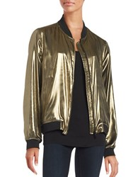 Highline Collective Metallic Baseball Jacket Gold