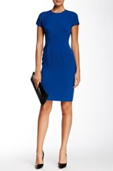 Anne Klein Topstitch Cap Sleeve Dress Blue