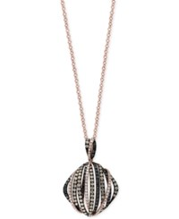 Macy's Effy Final Call Diamond Bands Pendant Necklace 1 3 8 Ct. T.W. In 14K Rose Gold