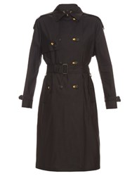 Burberry Wool And Silk Blend Lightweight Trench Coat Black