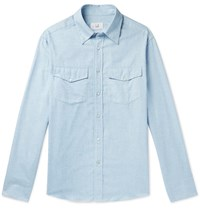Dunhill Cotton And Cashmere Blend Western Shirt Blue