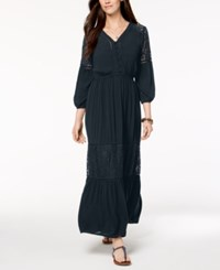 Styleandco. Style Co Petite Lace Trim Maxi Dress Created For Macy's Timeless Navy