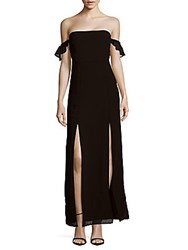 Lucca Couture Off The Shoulder Front Slit Gown Navy