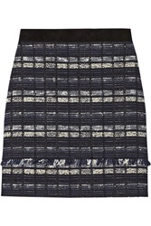 Proenza Schouler Suede Trimmed Tweed Mini Skirt Blue