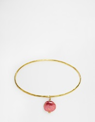 Mirabelle Thin Brass Bangle With Coloured Pearl Brasspurple