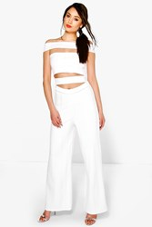 Boohoo Cut Out Strappy Bardot Jumpsuit Ivory