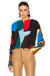 Marni Viscose Cannette Crew Neck Blouse In Abstract