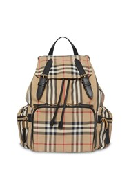 Burberry The Medium Rucksack In Icon Stripe Nylon Neutrals