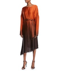 Sally Lapointe Ombre Silk Crewneck Belted Long Sleeve Midi Dress Rust