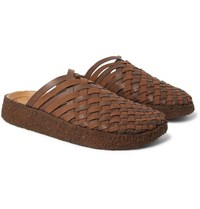 Malibu Colony Woven Faux Suede And Leather Sandals Dark Brown