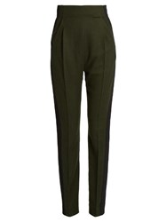 Haider Ackermann Proud High Waisted Wool Trousers Khaki