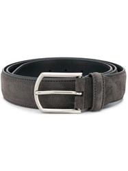 Canali Embroidered Logo Belt Grey
