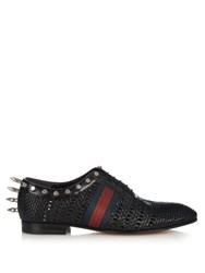 Gucci Spike Embellished Woven Leather Derby Shoes Black