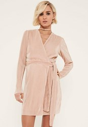 Missguided Pink Pleated Long Sleeve Wrap Dress