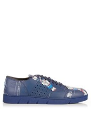 Loewe Poly Galaxy Leather Trainers Navy Multi