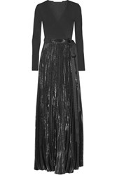 Diane Von Furstenberg Heavyn Pleated Metallic Stretch Crepe Wrap Maxi Dress Black