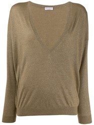 Brunello Cucinelli V Neck Jumper Green
