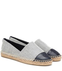 Tory Burch Leather Trimmed Espadrilles Blue