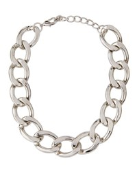 Lydell Nyc Statement Curb Chain Necklace Gray Metallic