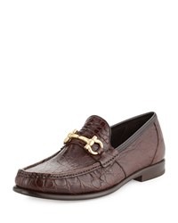 Salvatore Ferragamo Mason 2 Crocodile Gancini Loafer Almond Brown Men's Size 9.5D