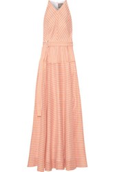Lela Rose Striped Cotton Linen And Silk Blend Gown Pastel Orange