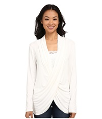 Miraclebody Jeans Tobi Twisted Wrap Top W Body Shaping Inner Shell Winter White Women's Blouse