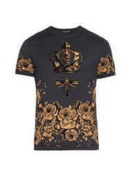 Dolce And Gabbana Crown And Bee Flock Print Cotton T Shirt