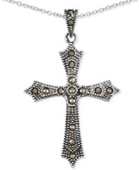 Giani Bernini Marcasite Cross Pendant Necklace In Sterling Silver