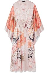 Meng Floral Print Silk Satin Robe Blush