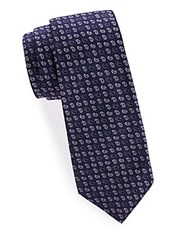 Saks Fifth Avenue Made In Italy Paisley Silk Tie Blue