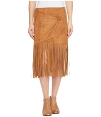 Stetson 0883 Faux Suede Asymmetrical Wrap Skirt Brown Women's Skirt