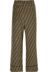 Fendi Cropped Printed Silk Satin Wide Leg Pants Brown
