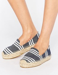 Soludos Navy Striped Platform Espadrilles Navy White Blue