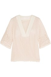 See By Chloe Embroidered Cotton Lace Top Blush