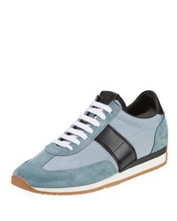 Tom Ford Suede Trim Mesh Upper Low Top Sneaker Blue