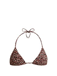 Matteau The String Triangle Bikini Top Brown Print