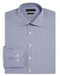 Bloomingdale's The Men's Store At Dobby Check Regular Fit Dress Shirt Navy