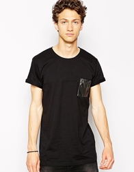 Solid T Shirt With Faux Leather Pocket Black