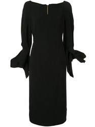Roland Mouret Rosslare Ruffled Cuff Dress Black