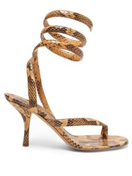 Bottega Veneta Wrap Around Snake Effect Leather Sandals Light Tan