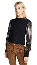 English Factory Checkered Sleeve Knit Top Black