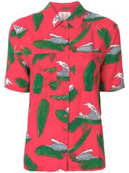 Zoe Karssen Wave And Palm Leaf Print Shirt Red
