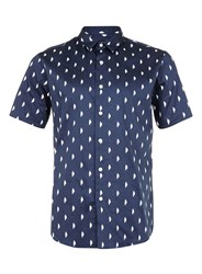 Topman Navy And White Cloud Print Satin Feel Smart Shirt Blue