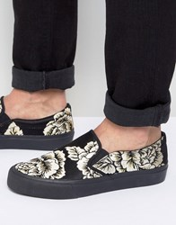 Asos Slip On Plimsolls In Black And Gold Floral Black