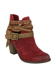 Naughty Monkey Cuthbert Suede Booties Red