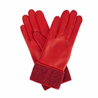 Gizelle Renee Beatrisa Red Leather Gloves With Red Speckle Wool