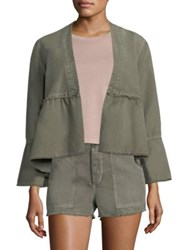 Amo Canvas Peplum Jacket Grey Green