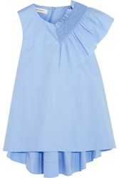 Cedric Charlier Ruffled Smocked Cotton Blend Top Sky Blue