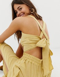 Moon River Crop Top With Cross Back And Bow Detail Yellow