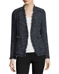 Rebecca Taylor Sparkle Tweed Open Front Blazer Blue
